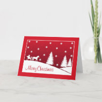 Christmas Horse Drawn Sleigh Snow Scene Red Holiday Card