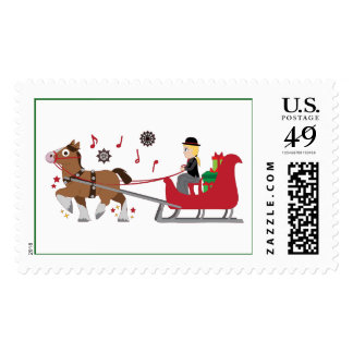 Christmas Horse-Drawn Sleigh with Music Notes Postage