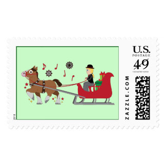 Christmas Horse-Drawn Sleigh with Music Notes Postage Stamp