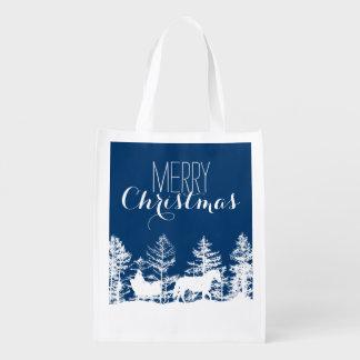 Christmas Horse Sleigh Reusable Grocery Bag
