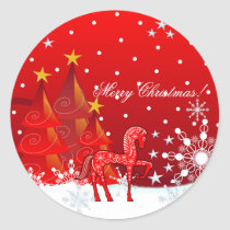 Christmas Horse, Snowflakes,Trees & custom text Classic Round Sticker
