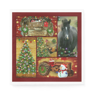 Christmas Horse Snowman truck tractor Napkins