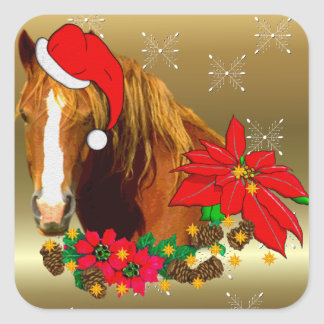 Christmas Horse Square Sticker
