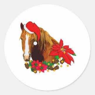 Christmas Horse Classic Round Sticker