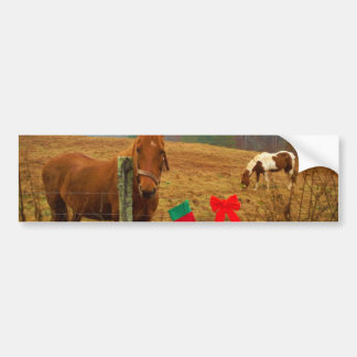 Christmas Horse with bow and stocking Bumper Stickers