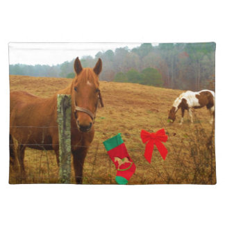 Christmas Horse with bow and stocking Placemat