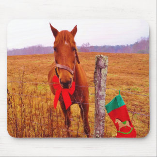 Christmas Horse with bow & stocking Mousepads