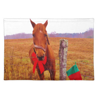 Christmas Horse with bow & stocking Placemat