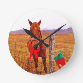 Christmas Horse with bow & stocking Round Clock