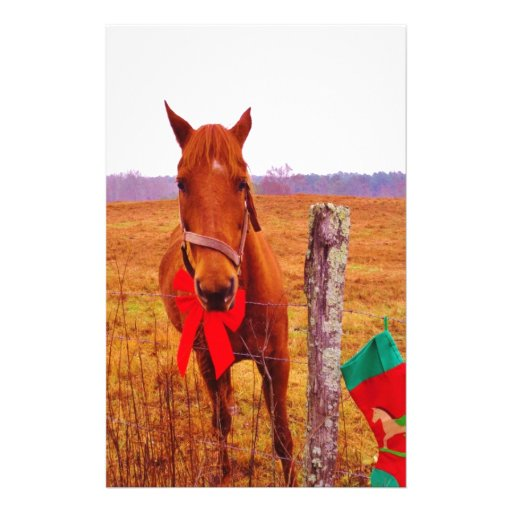 Christmas Horse with bow & stocking Stationery Design