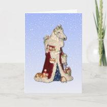 Christmas Horse with Corgi Elves Greeting Card