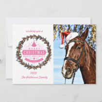 Christmas horse with hat holiday card