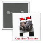 Christmas Horses 2 Inch Square Button