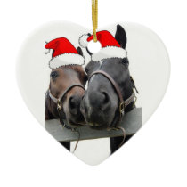 Christmas Horses Ceramic Ornament
