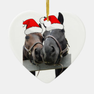 Christmas Horses Double-Sided Heart Ceramic Christmas Ornament