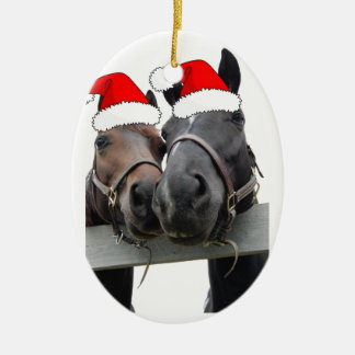 Christmas Horses Double-Sided Oval Ceramic Christmas Ornament