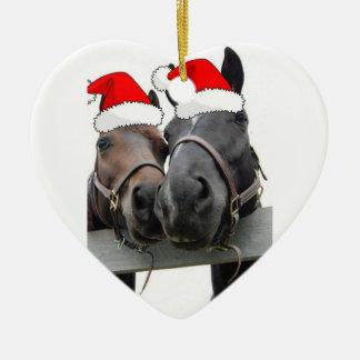Christmas Horses Double-Sided Heart Ceramic Christmas Ornament