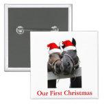 Christmas Horses Pinback Button