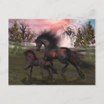 Christmas Horses Postcard