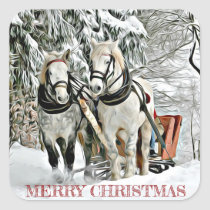 Christmas Horses Pulling Sleigh Through Snow Square Sticker