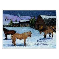 Christmas: Horses, Snow, Painting: Homestead, Farm Card