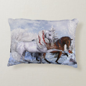 Christmas Horses Throw Pillow Accent Pillow