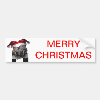 Christmas Horses With Santa Hats Bumper Sticker