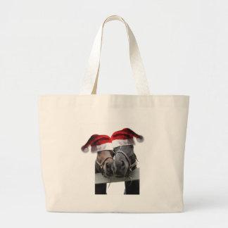 Christmas Horses With Santa Hats Large Tote Bag