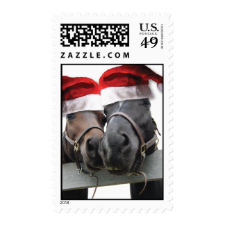Christmas Horses With Santa Hats Postage Stamp