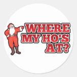 Christmas hos classic round sticker