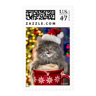 Christmas Hot Coco Kity Postage Stamp