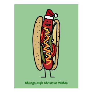 Christmas Hot dog Chicago Style Postcard