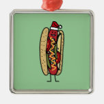 Christmas Hot dog Chicago Style Square Metal Christmas Ornament