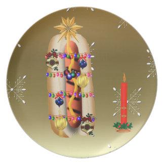 Christmas Hotdog Melamine Plate