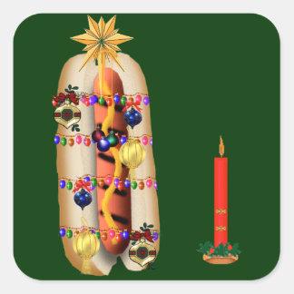Christmas Hotdog Square Sticker
