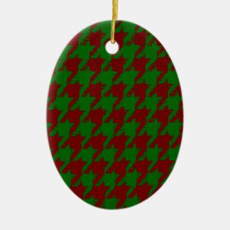 Christmas Houndstooth Ceramic Ornament