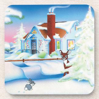 Christmas House: Hard Plastic coasters: set of 6 Beverage Coaster