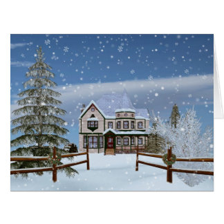 Christmas, House in Snowy Winter Scene Greeting Cards