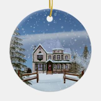 Christmas, House in Snowy Winter Scene Ceramic Ornament