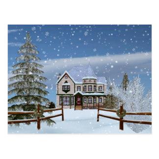 Christmas, House in Snowy Winter Scene Postcard