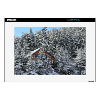 Christmas house in the winter forest decal for laptop