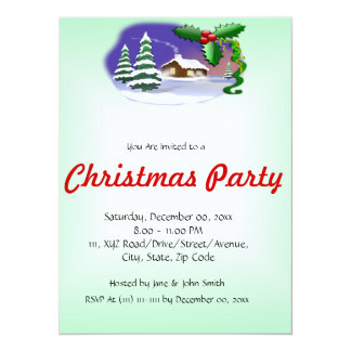 "Christmas House on a Green Background 5.5"" X 7.5"" Invitation Card"