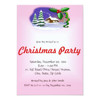 "Christmas House on a Pink Background 5.5"" X 7.5"" Invitation Card"