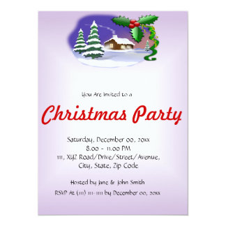 "Christmas House on a Violet Background 5.5"" X 7.5"" Invitation Card"