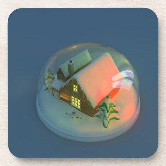 Christmas House snow globe Cork Coaster