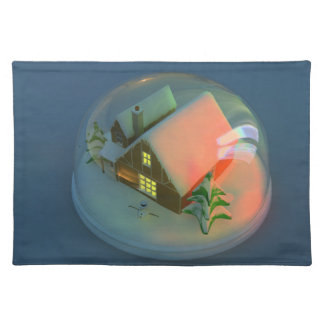 Christmas House snow globe Placemat
