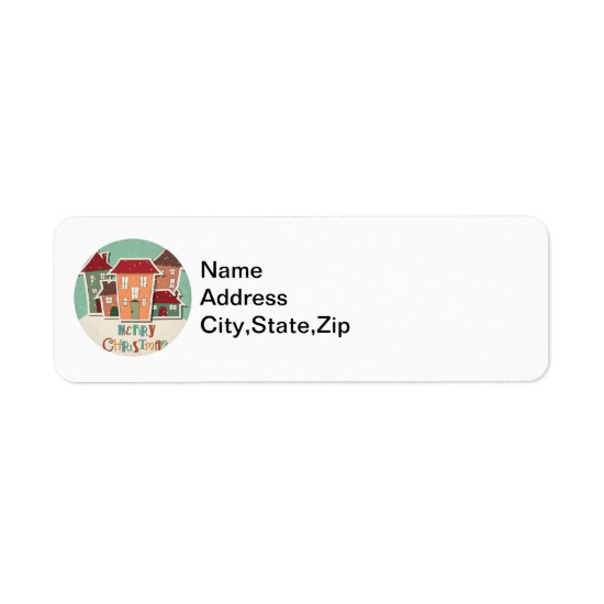 Christmas Houses, Holiday Greetings Address Labels