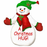"Christmas Hug Snowman Ornament<br><div class=""desc"">Jolly snowman with red and green scarf and snow cap adorned with holly is a fun ornament to bring a smile with a Christmas hug.  You may enjoy other snowmen ornaments and gifts available in my store. Original art and design by Anura Design Studio.</div>"