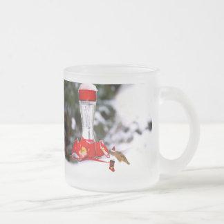 Christmas Hummingbird and Snow Frosted Glass Coffee Mug