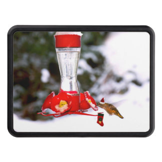 Christmas Hummingbird and Snow Trailer Hitch Cover